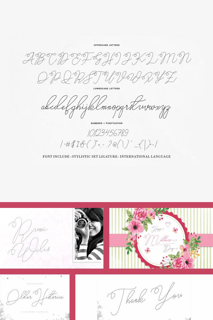 An elegant font with the taste of a wedding cake and the first dance of the bride and groom.