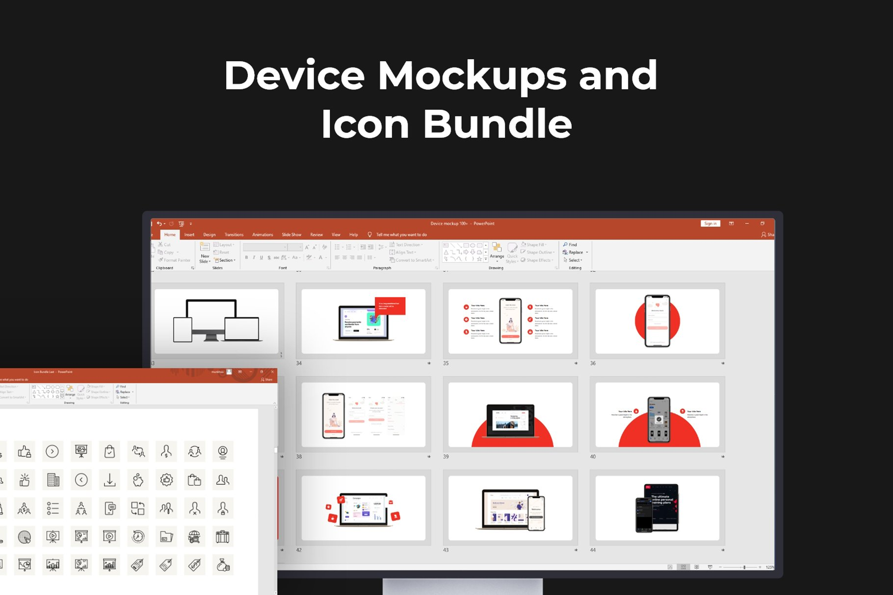 Device mockups and icon bundle which you can use in Infographics Presentation.