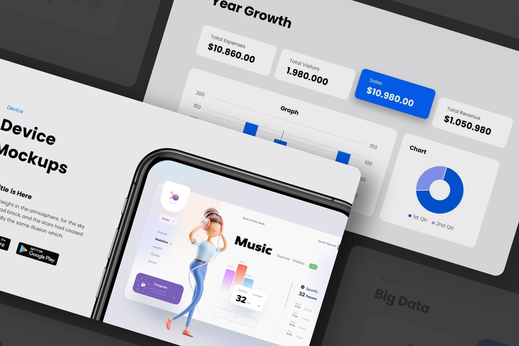 Template design is great for business and metrics showcasing.