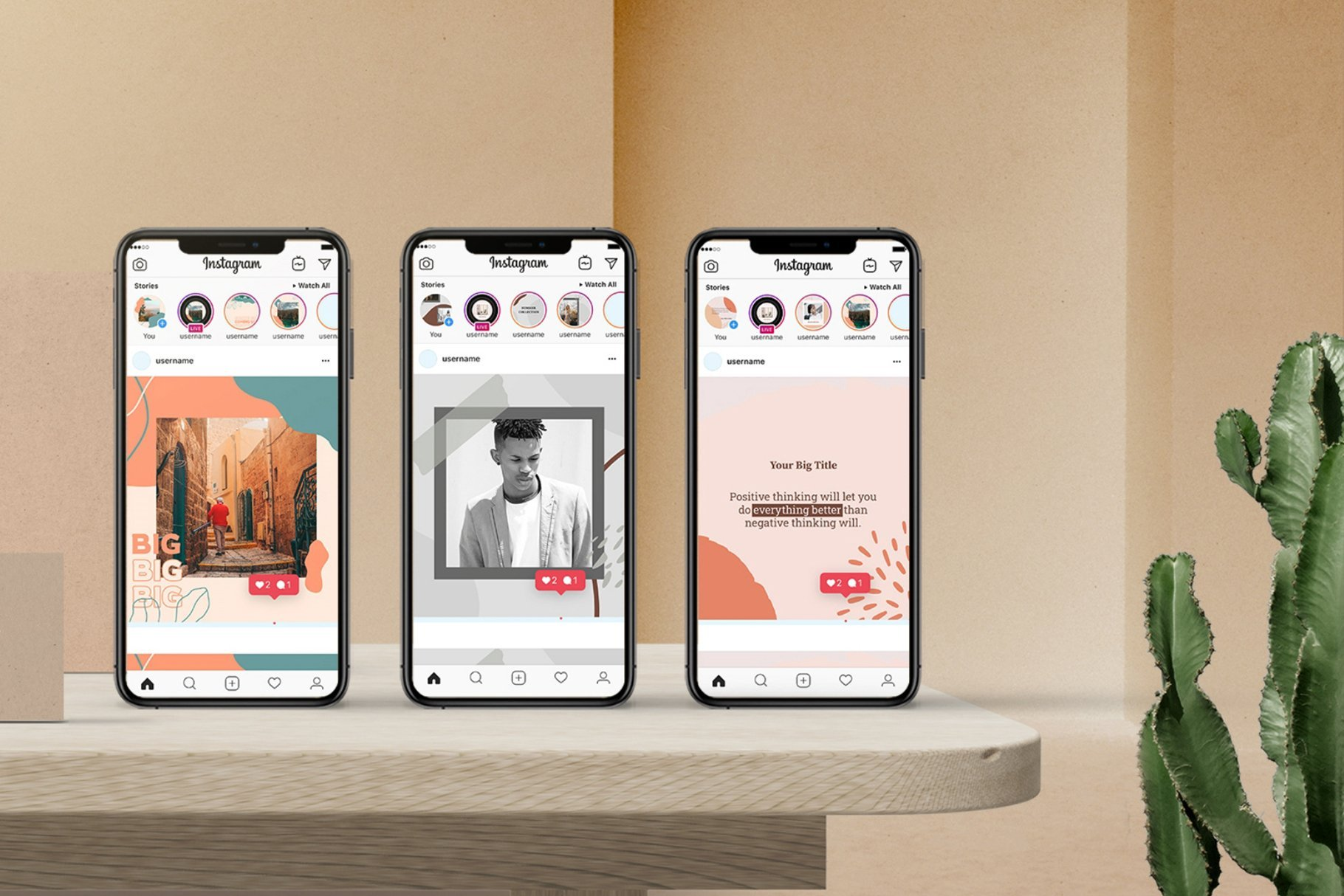 Three smartphone with instagram open.
