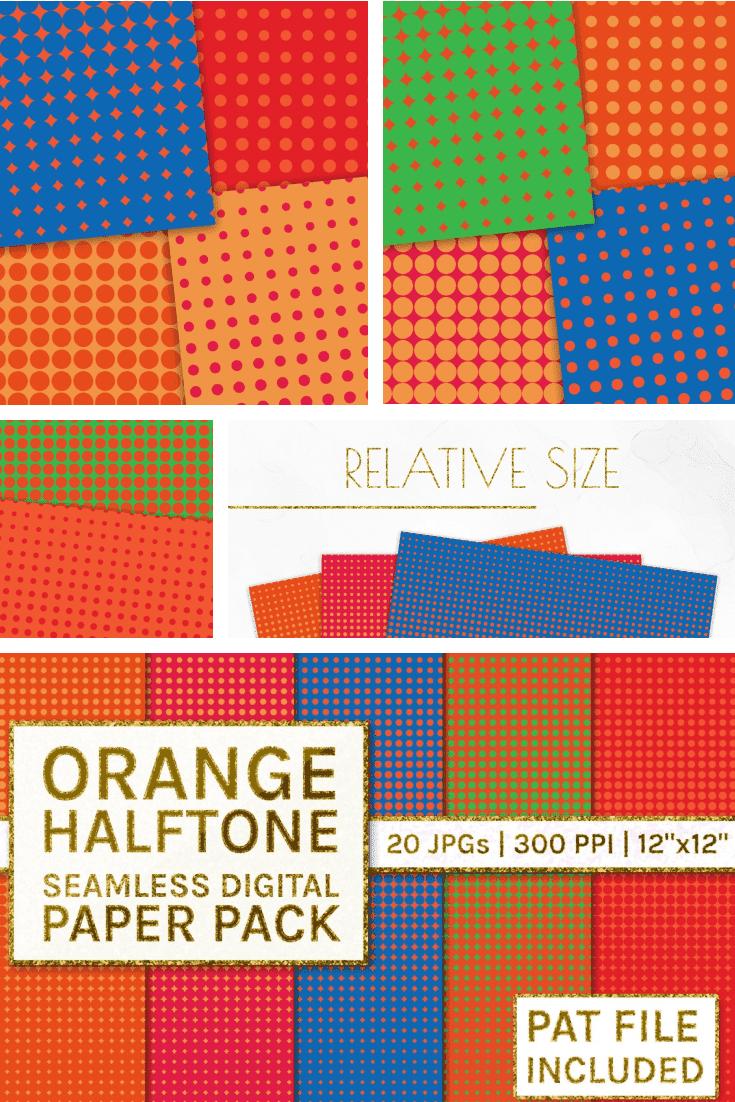 Orange dotted scrapbook paper.