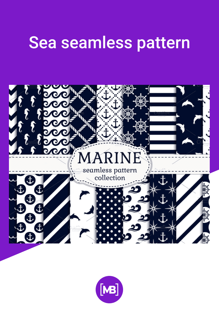 Vector collection of 18 digital papers for sea, cruise, and nautical themes.