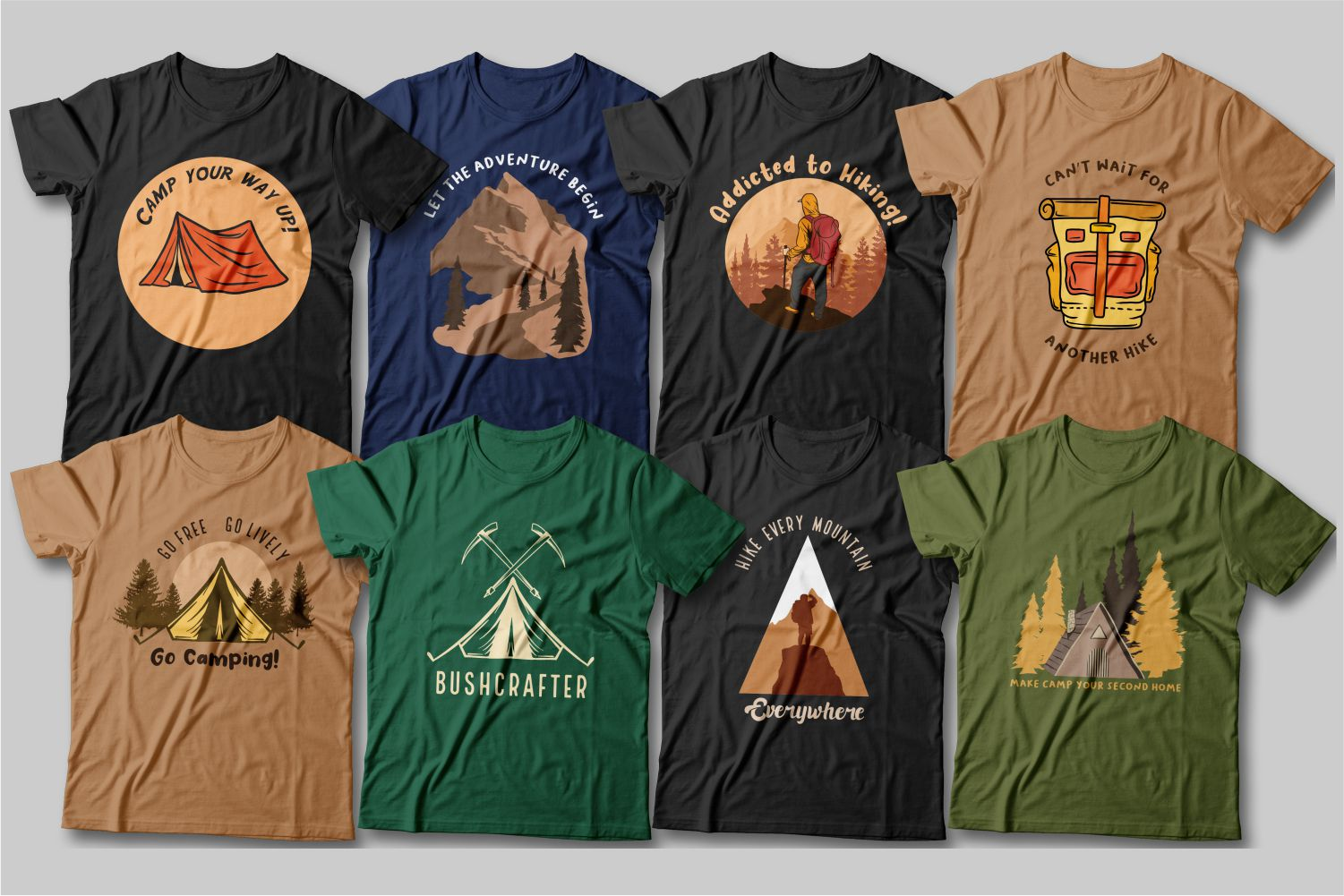 These T-shirts are full of the spirit of adventure and hiking.