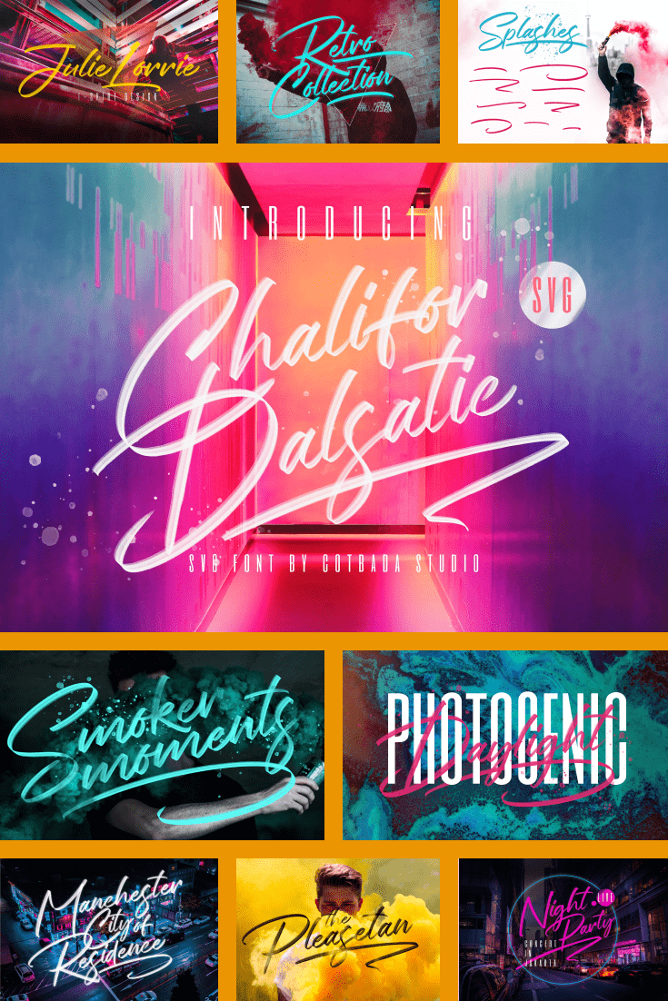For those who ordered a party. This font plays with music from the best clubs and bright neon colors.