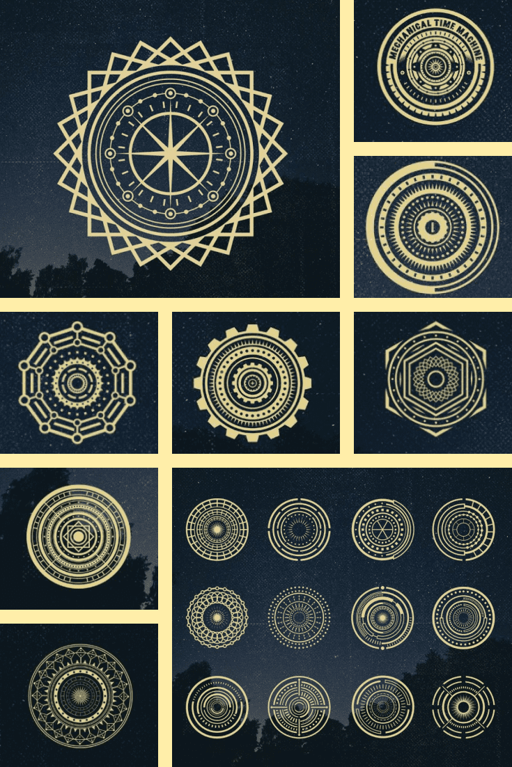 Mandala charged with wealth. It is gold in color and has a variety of designs.