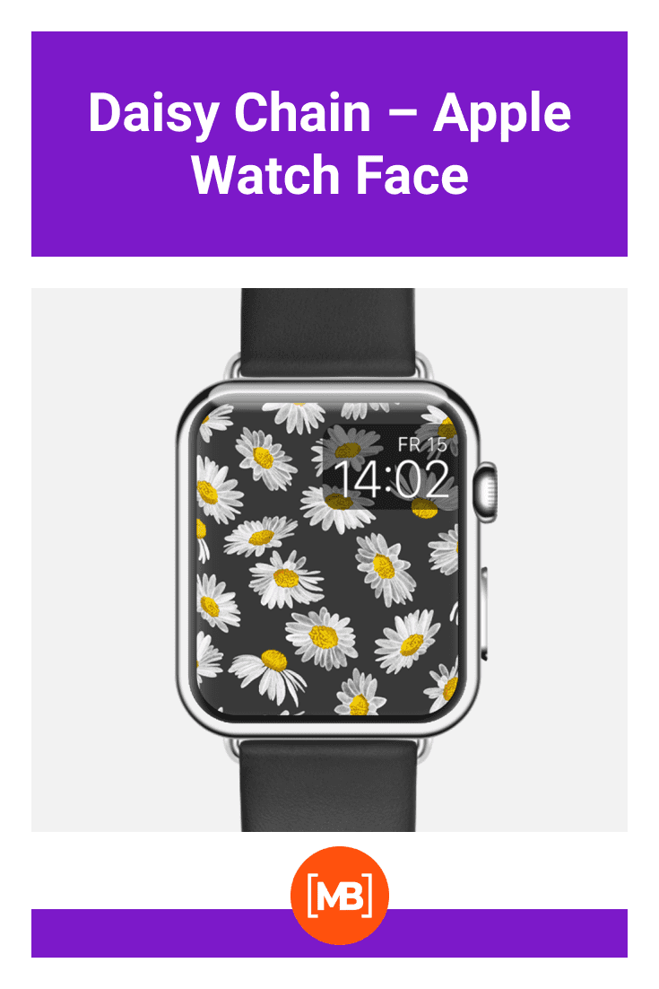 Spring dial with daisies on a black background.