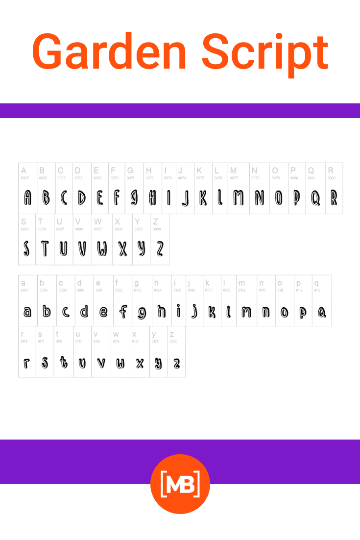 The double font is presented in the form of an alphabet.