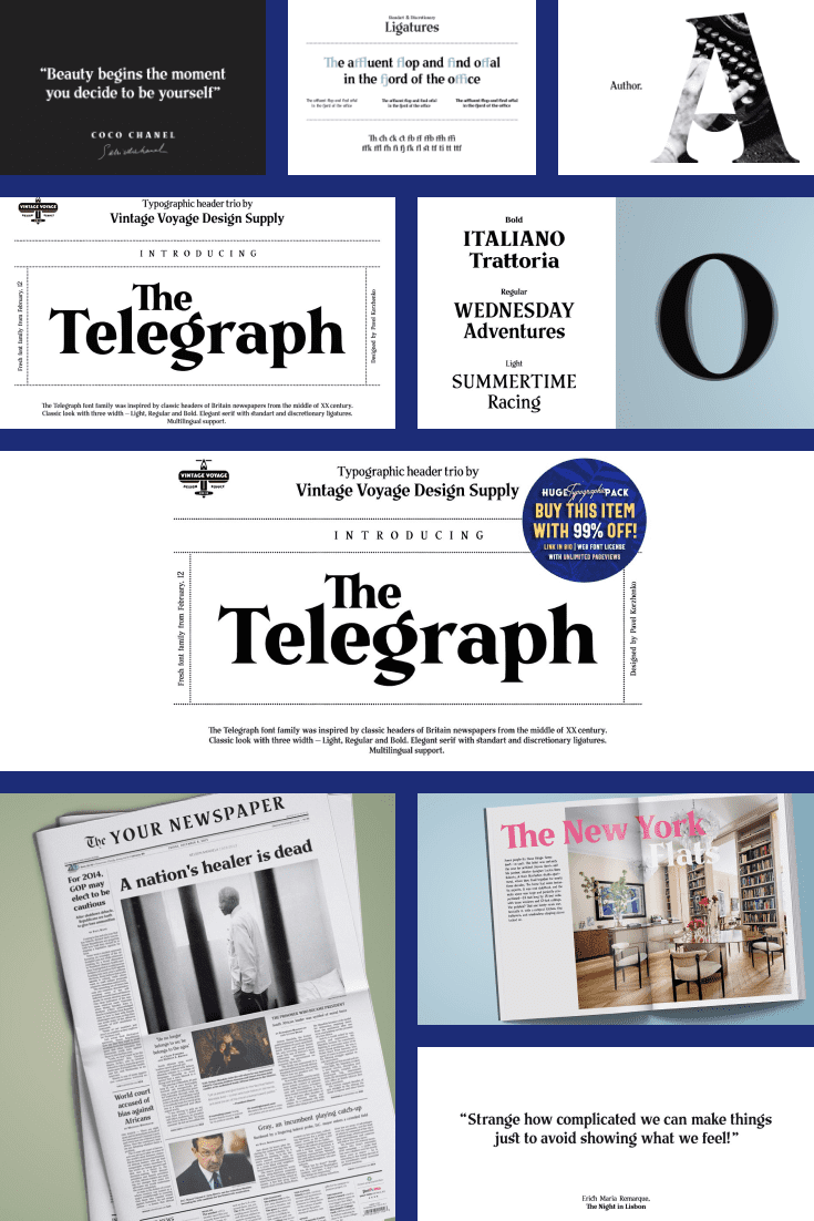 Stylish template worthy of the New York Times and Washington press. Crisp lettering with accents of color as needed.