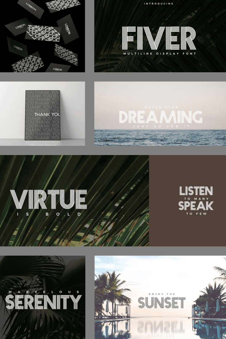 Font with many stripes. He is one of a kind. It's about visualizing and making dreams come true.