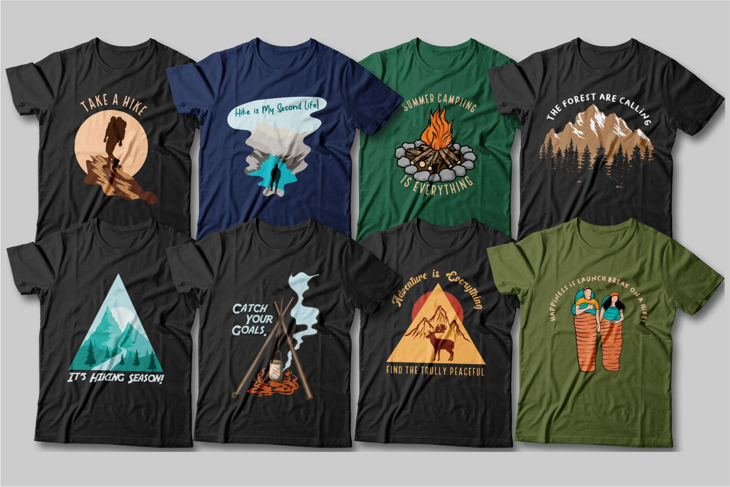 Campfire gatherings, fresh air and the smell of a coniferous forest - these T-shirts tell all about it.