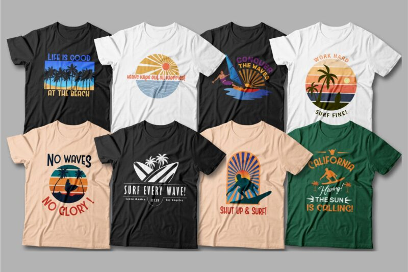Simple T-shirts with a variety of themed graphics.