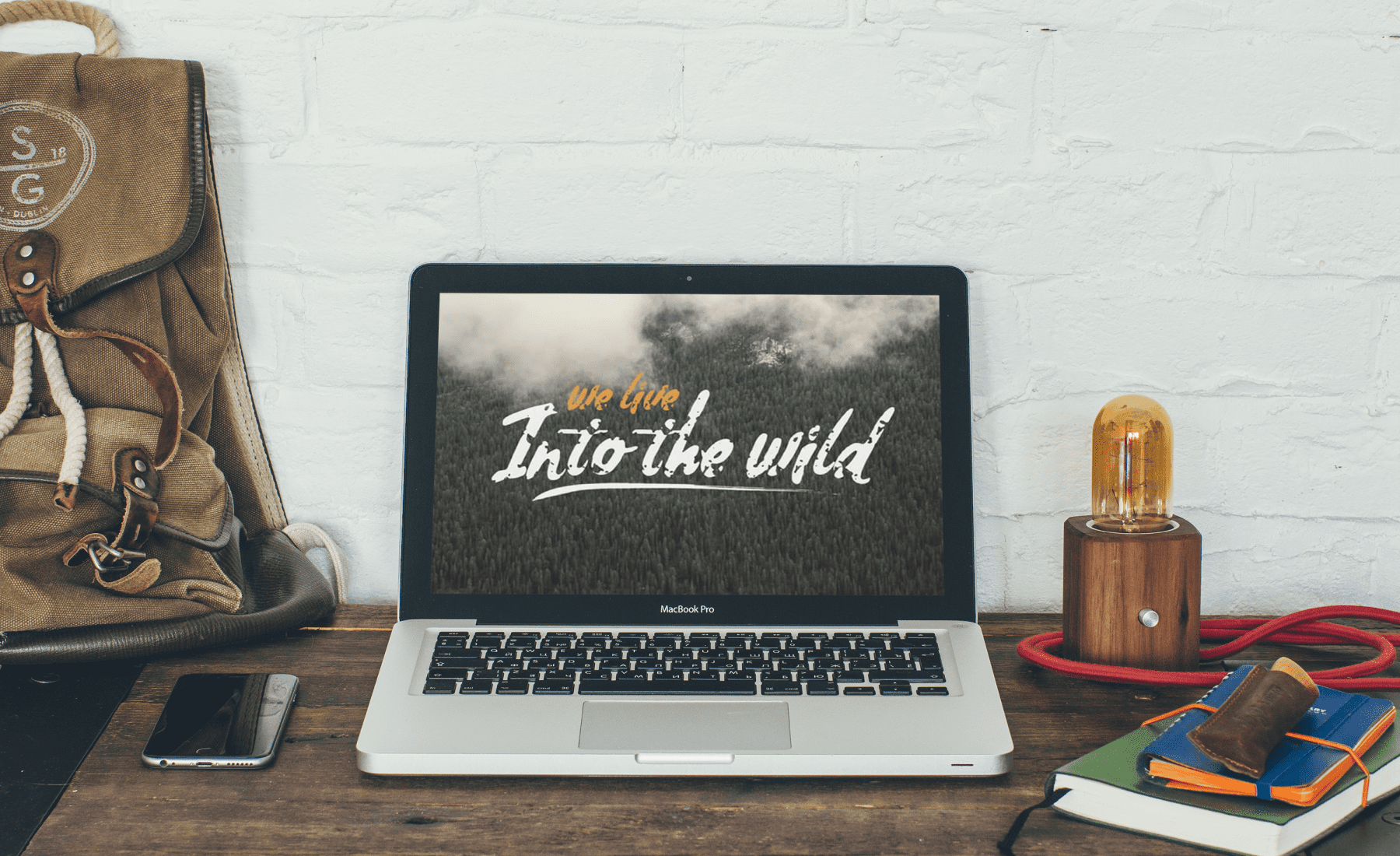 Working environment with the included laptop. Handwritten Fonts Bundle.