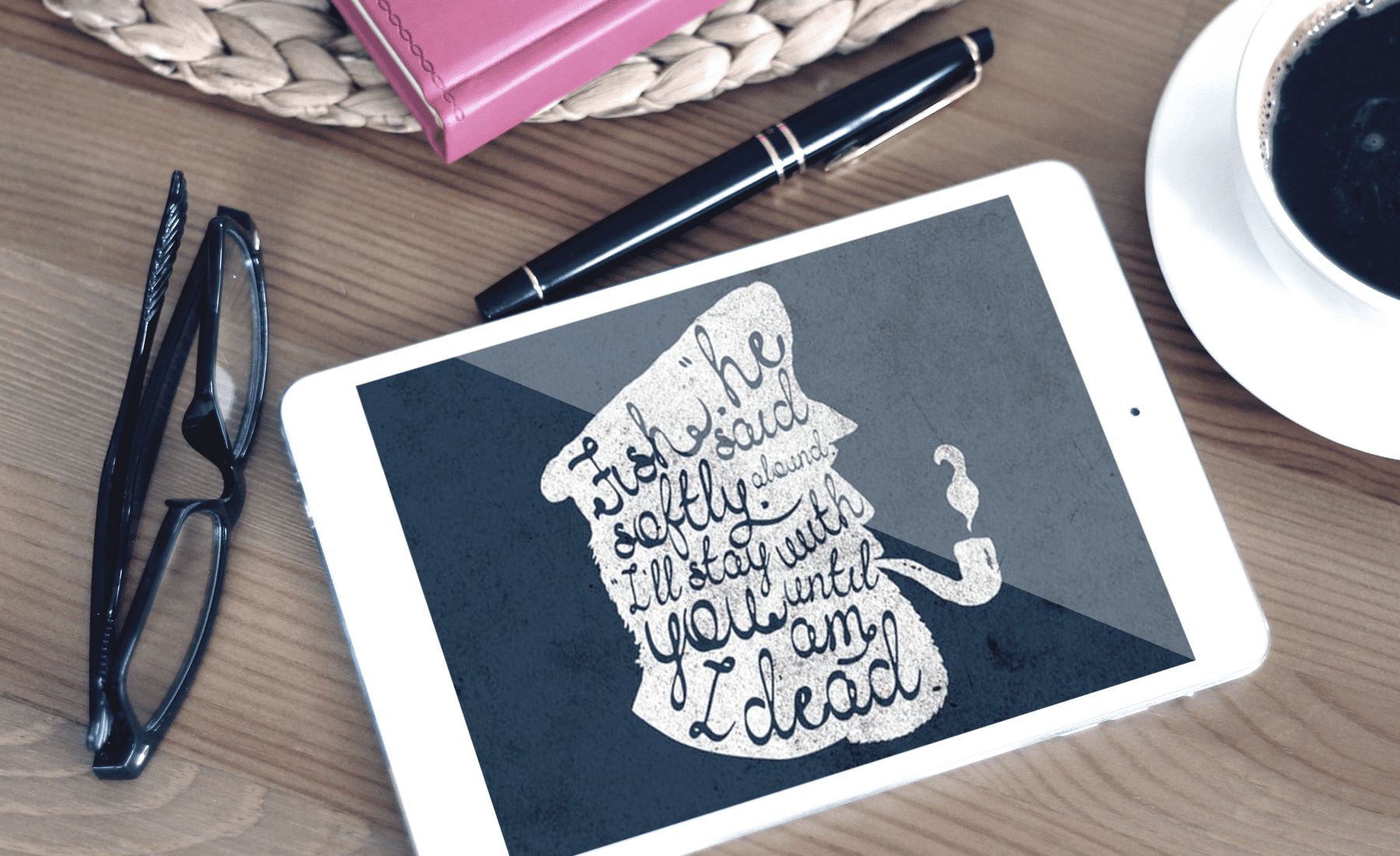 The tablet on which the inscription is displayed. Handwritten Fonts Bundle.