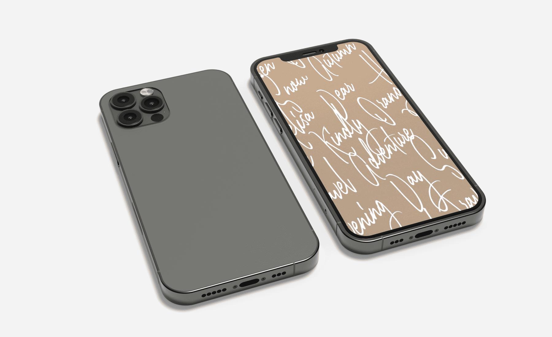 IPhone in a modern case. Handwritten Fonts Bundle.