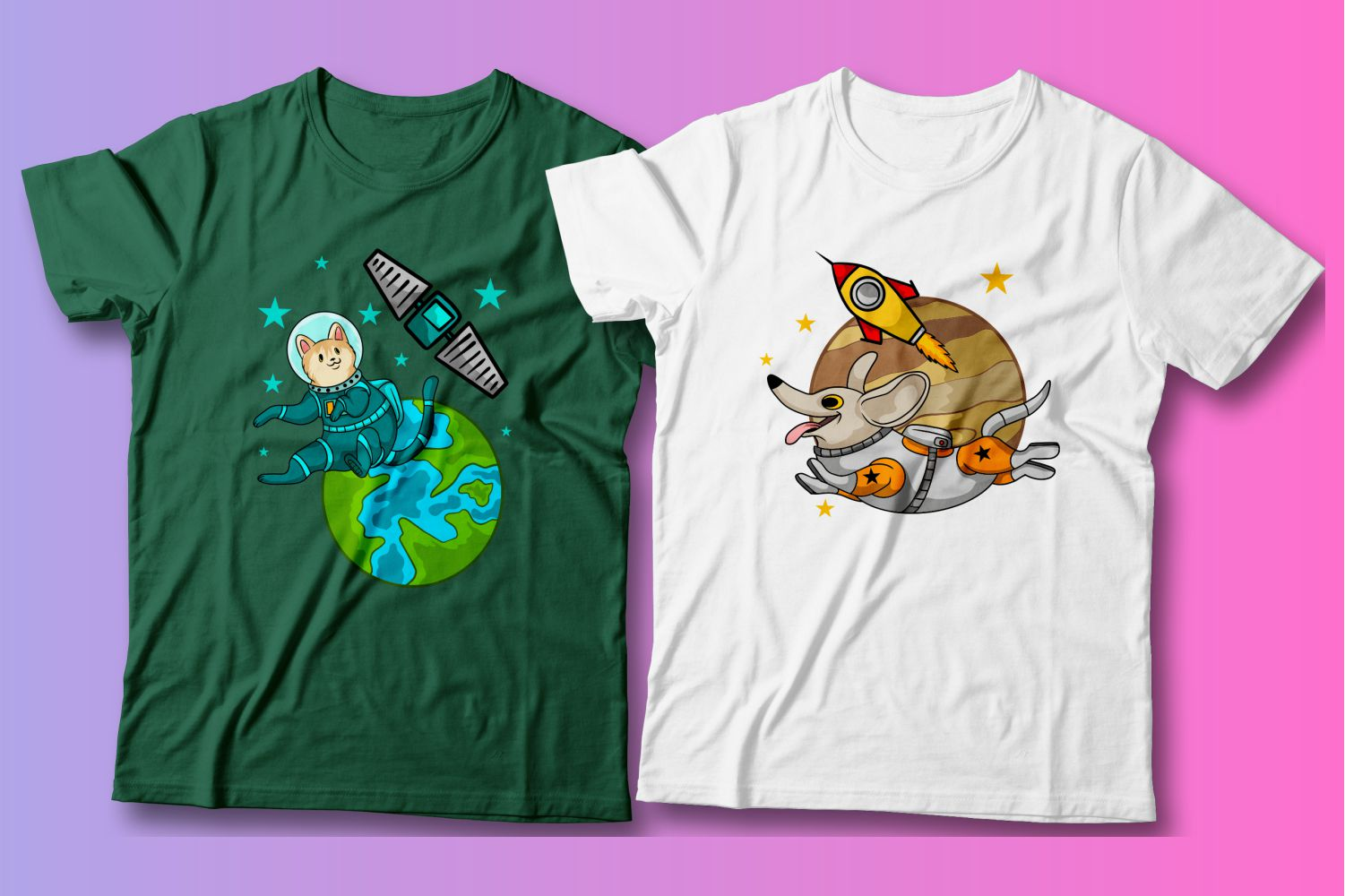 The green T-shirt and the white T-shirt are both about pets and space.
