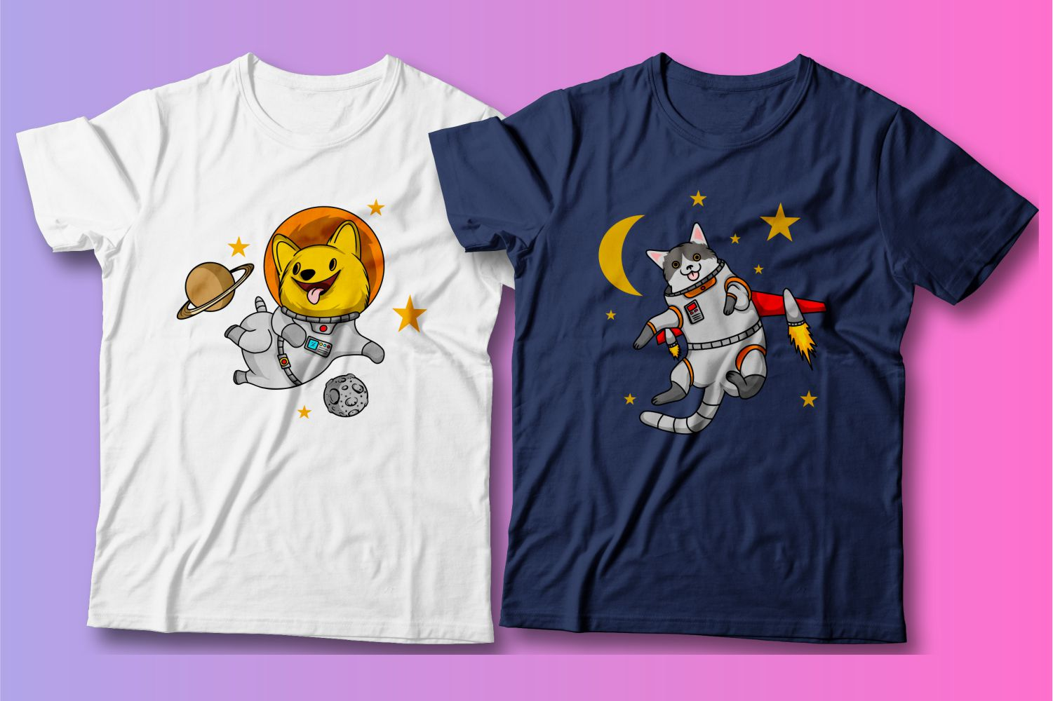 The happy faces of these pets in astronaut costumes attract all passers-by.