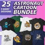 Astronaut Cartoon Bundle Example Image.