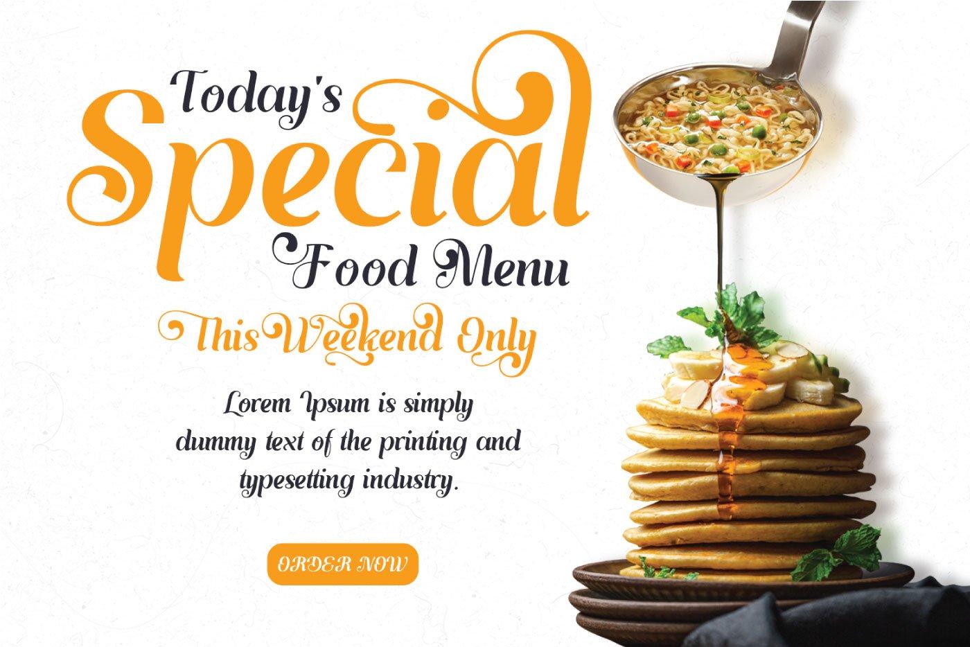 Special food menu written by Ayulia Molga Handwritten Font.