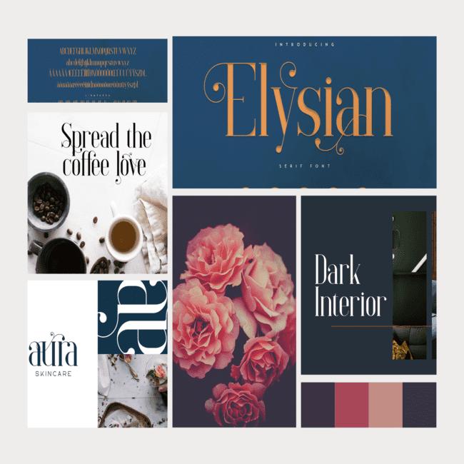 Elysian serif font.