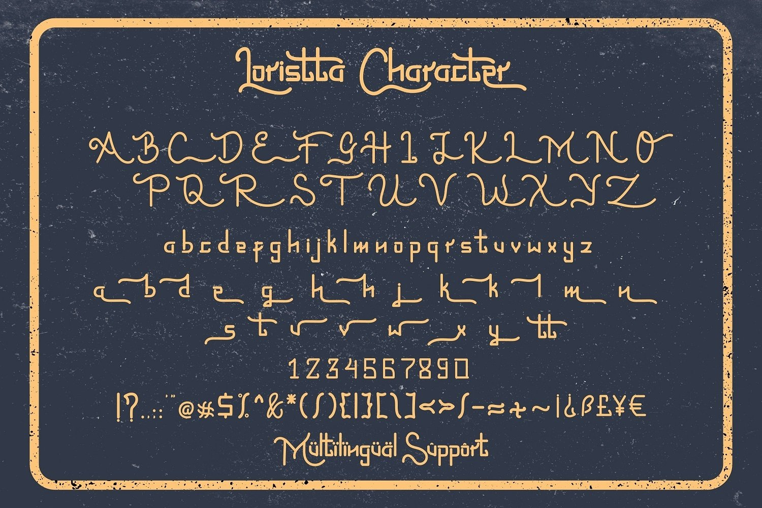 The font is displayed in general view to understand all its faces.