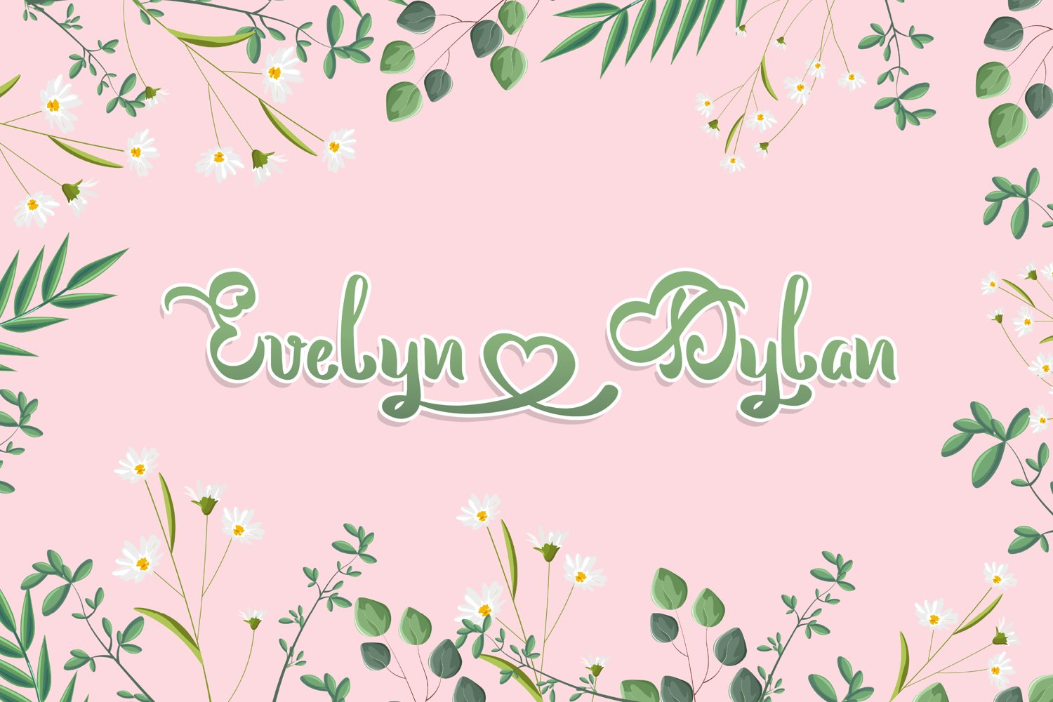Delicate floral template with spring font.