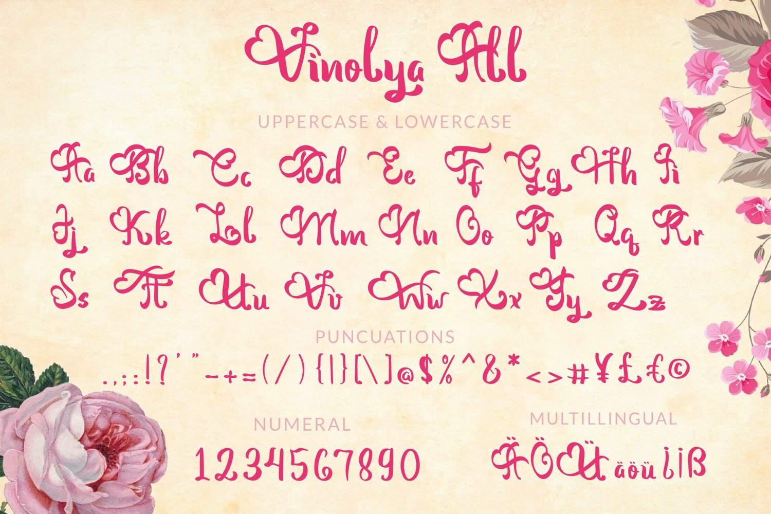 Here is the display of the font in all guises.