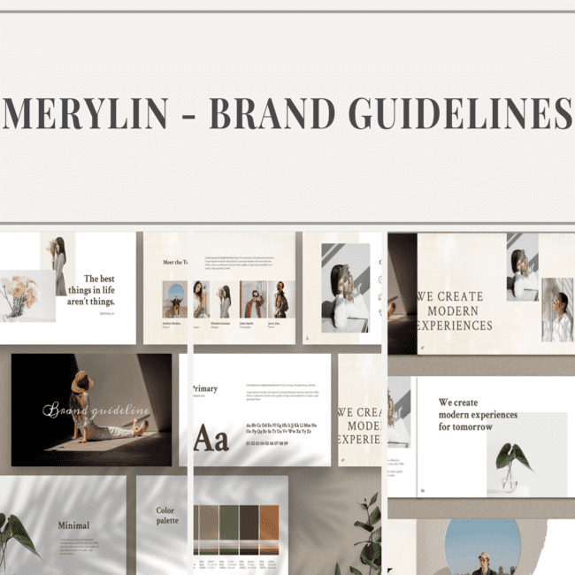 MERYLIN Brand Guidelines By MNML Agency in Templates.