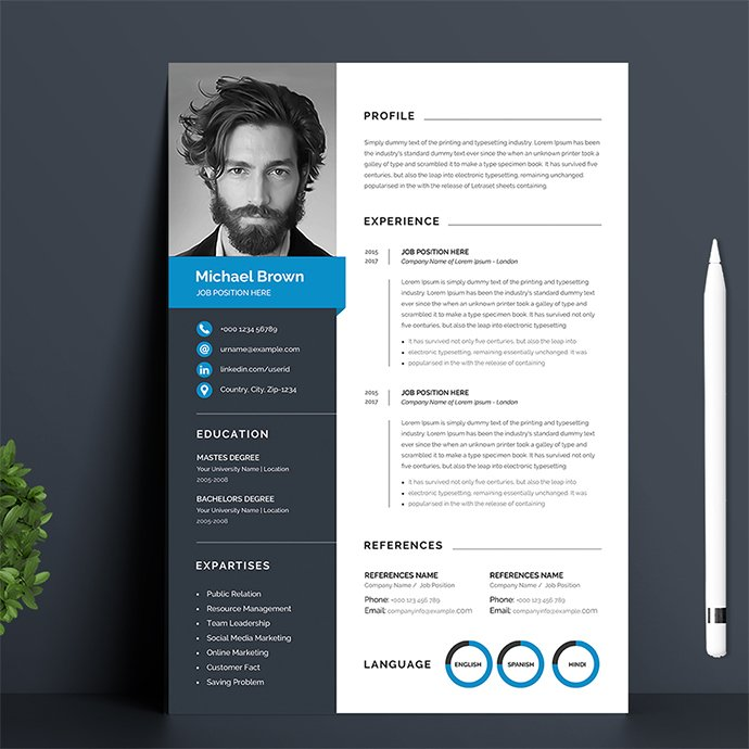 Modern resume template Example.