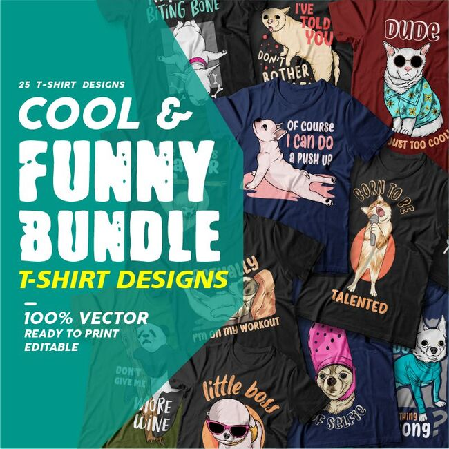 Cool and Funny Bundle T-shirts designs Example.