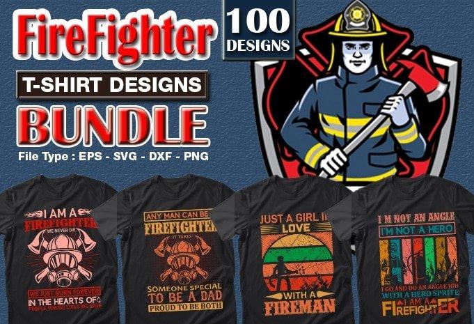 Firefighter mega t-shirts design bundle.
