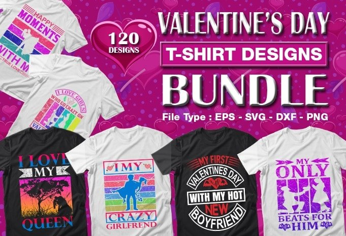 Valentine's day mega t-shirts design bundle.