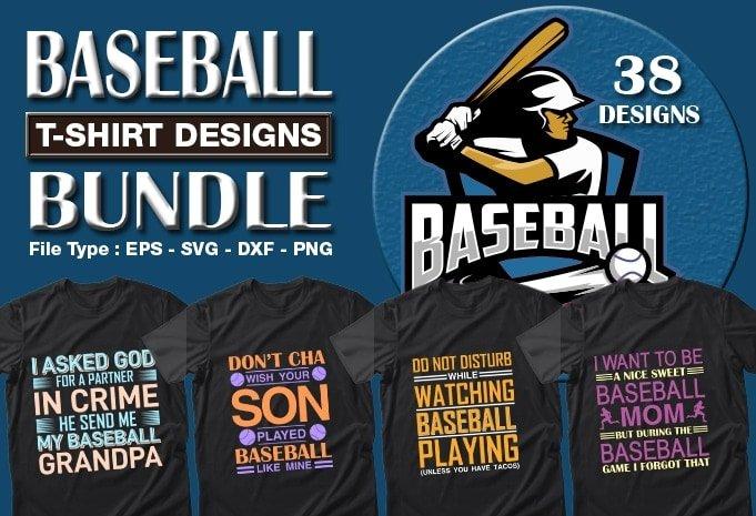 Baseball t-shirts design bundle.