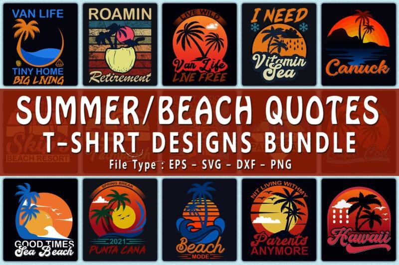 Summer beach quotes design bundle.