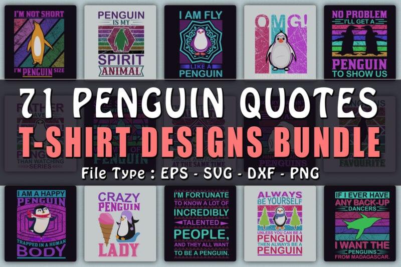 Penguin quotes t-shirts design bundle.