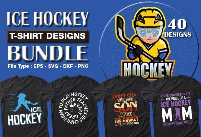 Ice hockey t-shirt designs bundle.
