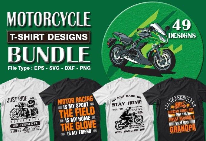 Motorcycle t-shirt designs bundle.