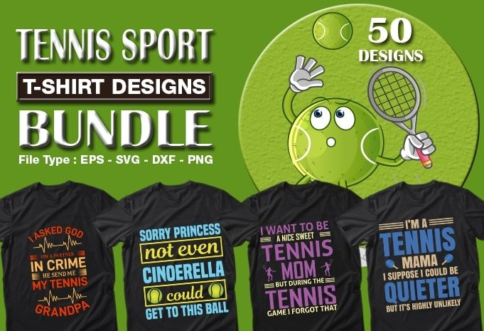 Tennis t-shirt designs bundle.