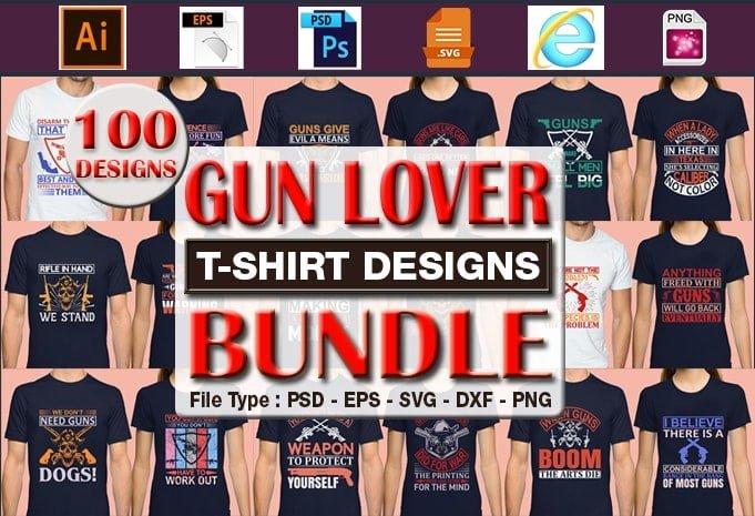 Gun lover t-shirt designs bundle.