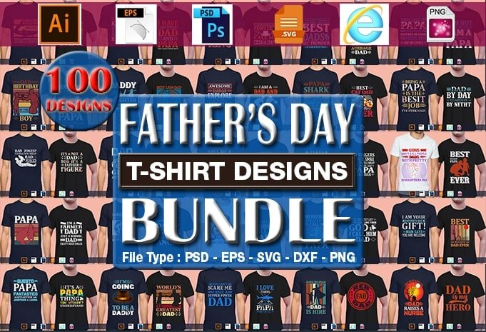 Father's day t-shirt designs bundle.