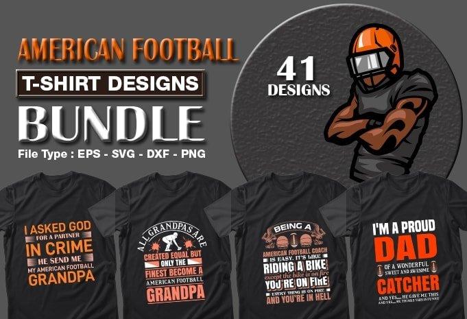 American football t-shirts design bundle.
