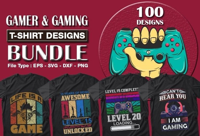 Camera and gaming t-shirts design bundle.