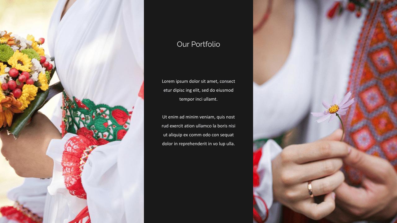 Portfolio option with large photos of works.