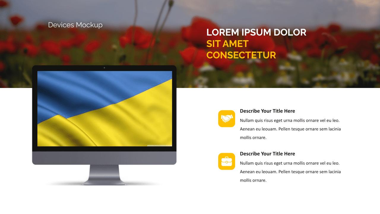 Ukraine presentation with a flag.