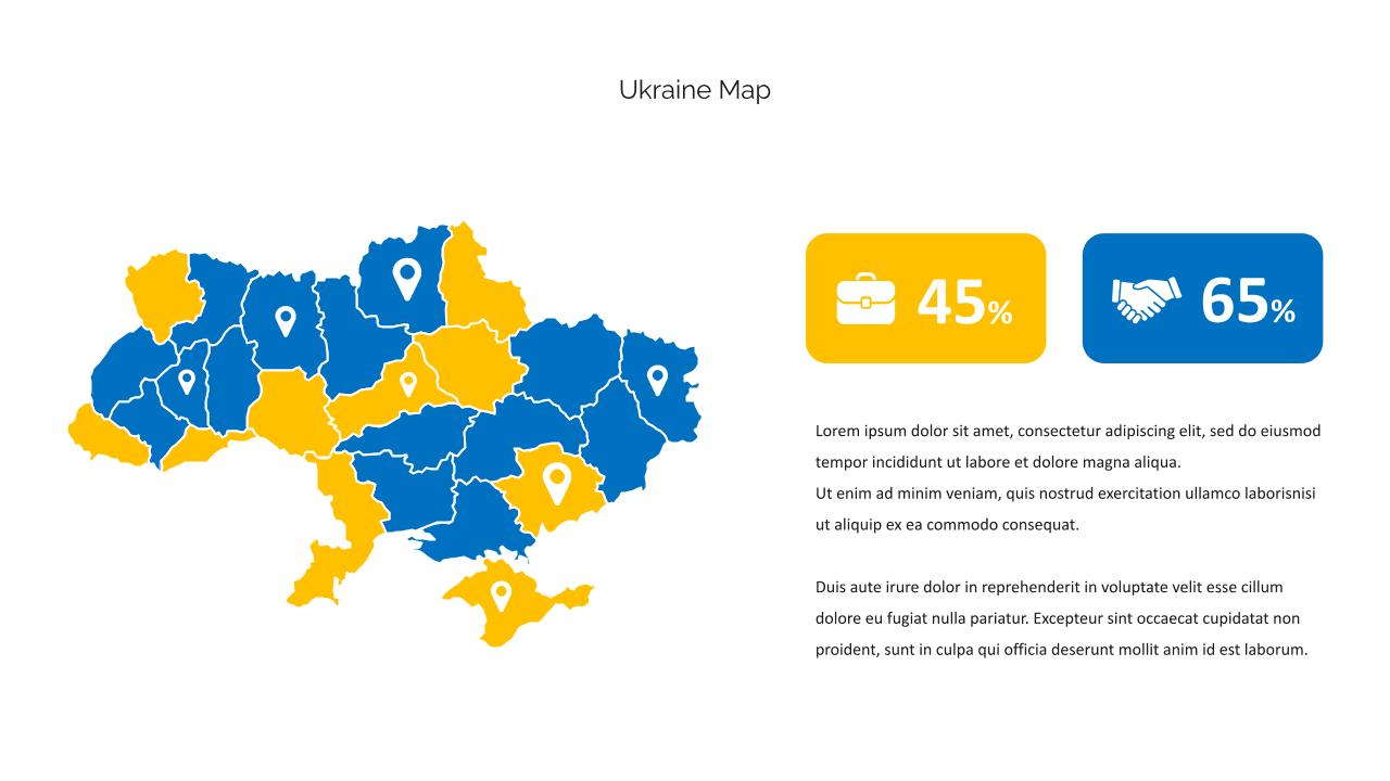 Ukrainian map with infographics.