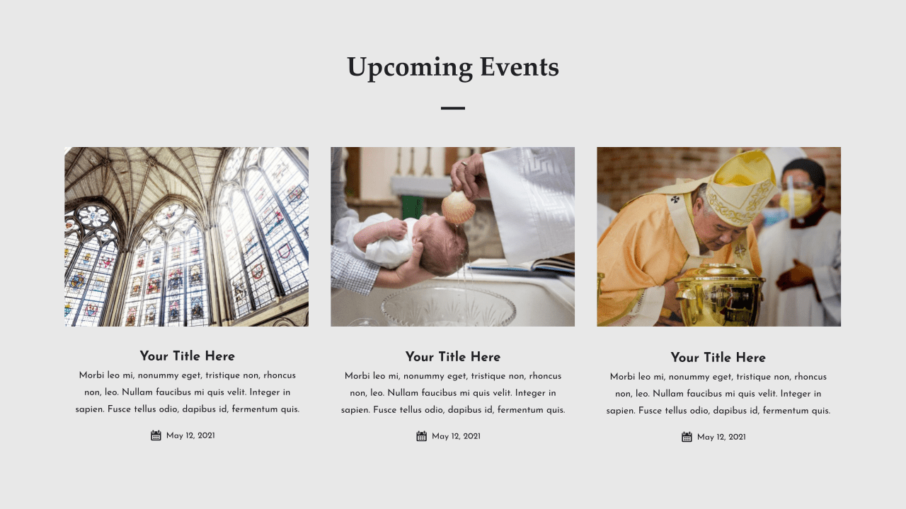An excellent slide for notifying about upcoming events.