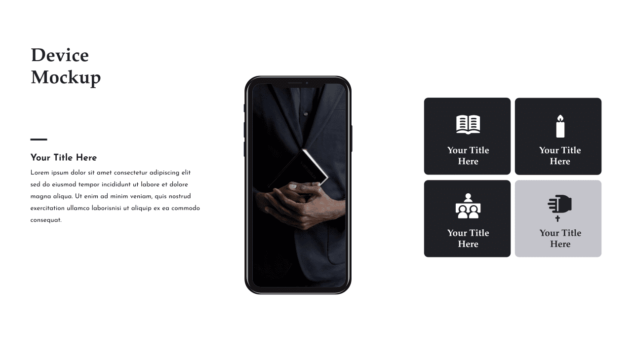 This slide has a menu of cubes and the ability to present the project in a mobile version.