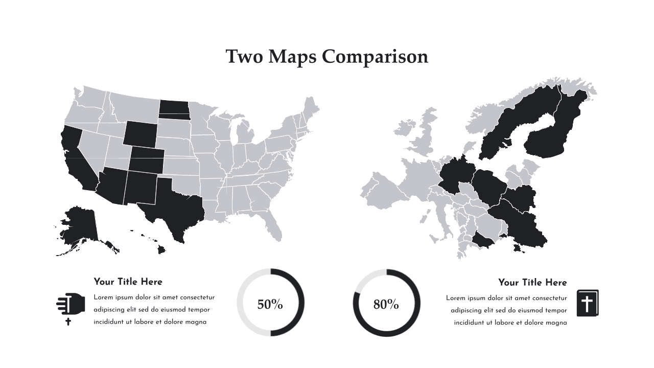 Comparison of maps of Europe and the USA.