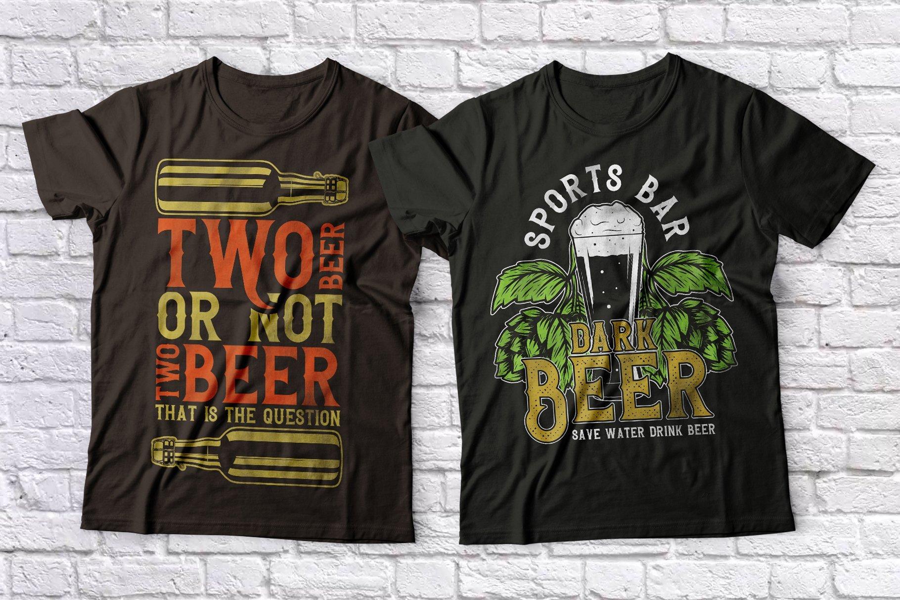 T-shirts with beer and lettering.