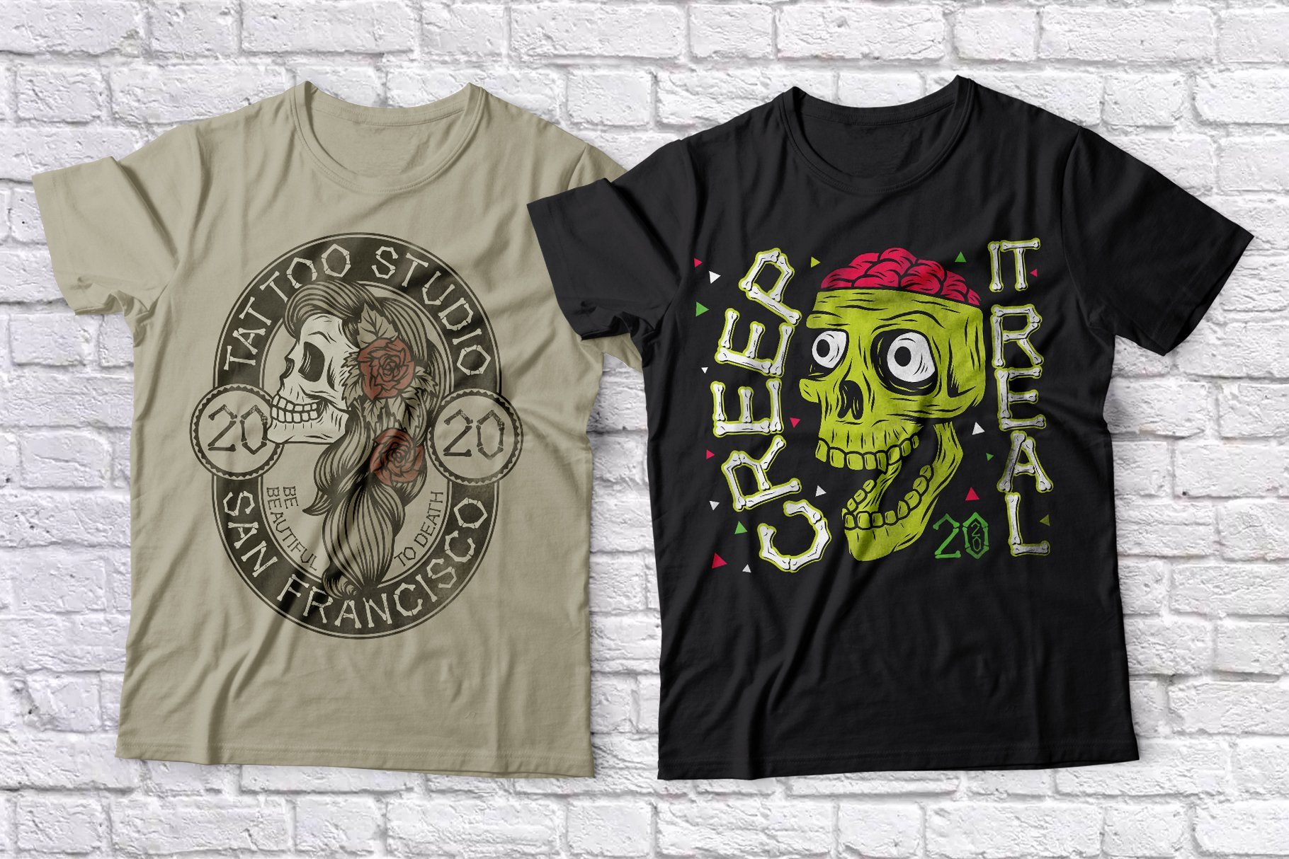T-shirts with skulls, one of them is a female skull.