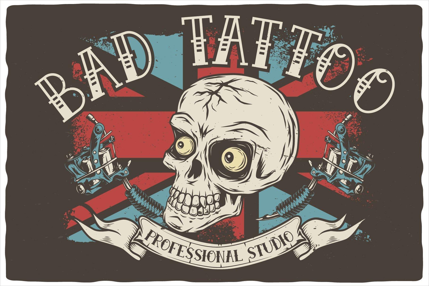 Bad tattoo professional studio by ink font.